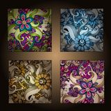 Set of four decorative ornamental ethnic cards. Royalty Free Stock Image