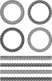 Set of four decorative round frames and four decorative line bor. Ders in similar style Stock Photos