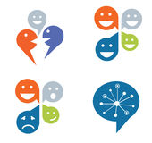 Set of four deigns for social networking concept vector illustration