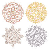 Set of four desert color lacy mandalas Royalty Free Stock Image