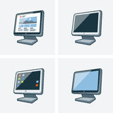 Set of four desktop pc monitor illustrations. Set of four isolated desktop pc monitor icon illustration in cartoon style with different desktop background Royalty Free Stock Image
