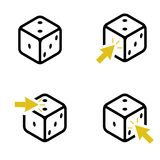 Set of four dice and yellow arrows vector illustration
