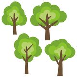 Set of four different cartoon green trees isolated on white background. Royalty Free Stock Photography