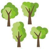 Set of four different cartoon green trees isolated on white background Stock Photography