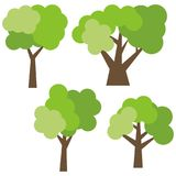Set of four different cartoon green trees isolated on white background. Royalty Free Stock Photos