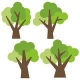 Set of four different cartoon green trees isolated on white background. Stock Photo