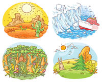 Set of four different climatic zones - desert, Arctic, jungle and moderate climate. Cartoon drawing Stock Images