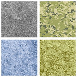 Set of four different color military texture background. Stock Image