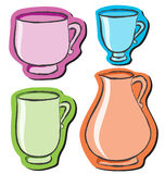 Set of four different cups Royalty Free Stock Photo