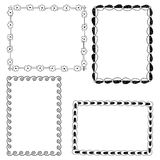 Set of four different decorative frames in black and white. Vector illustration Stock Photos