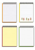 Set of four different empty notebooks. Open blank notebooks on a white background stock illustration