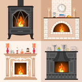 A set of four different fireplaces in flat style. Vector set of fireplaces in flat style. Collection of icons of different fireplaces with flame. Template for Stock Image