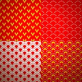 Set of four different geometrical patterns Stock Images