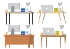 A set of four different modern office desk table with either a c stock photography