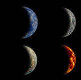 Set of four different planets. Royalty Free Stock Photography