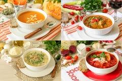 Set of four different soups borscht, kharcho, champignon mushrooms and pumpkin puree soups. royalty free stock image