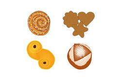 Set of four different sweetsbakeries. royalty free illustration