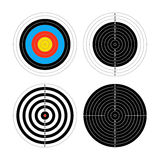Set of four different targets for shooting practice on white Royalty Free Stock Image