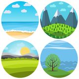 Set of four different vector cartoon landscape in circle Stock Images