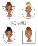 Set of four different woman's face shapes ( African American version ) Stock Photos