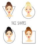 Set of four different woman's face shapes  Royalty Free Stock Photo