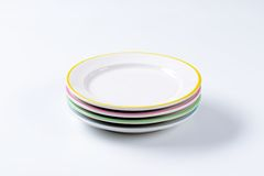 Set of four dinner plates Royalty Free Stock Image