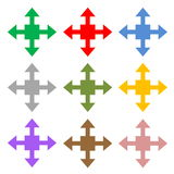 Set of four directions. Colorful set of four arrows showing different directions in white background Royalty Free Stock Images