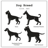 Set of four dog breeds  icons Royalty Free Stock Photos
