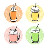 Set of four doodle colourful smoothies. Colorful vector set of doodle cups, jars, glasses and bottles with tasty nonalcoholic beverages. Hand drawn black outline Royalty Free Stock Image