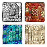 Set of four doodle ethnic cards in vector. Stock Photos