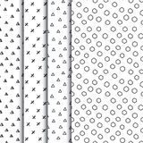 Set of four doodle seamless geometric patterns Royalty Free Stock Photo