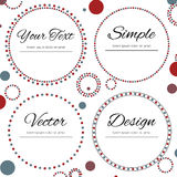 Set of four dotted circles for your text. Set of four dotted circles with place for your text in red and blue color on white background Royalty Free Stock Photography