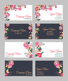 Set of four double-sided floral business cards Royalty Free Stock Photography