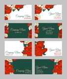Set of four double-sided floral business cards Stock Photo