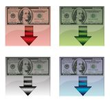 Set of four download buttons with american banknote,isolated Stock Photo