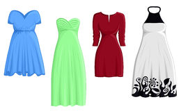 Set of four dresses Stock Images