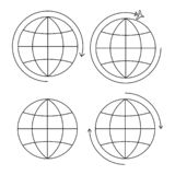Set of four earth icons thin line royalty free illustration