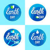 Set of four eco earth day backgrounds. Vector set of four eco earth day hand drawn backgrounds Royalty Free Stock Photos