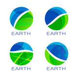 Set of four eco planet logos Royalty Free Stock Photography