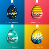Set of four eggs happy colorful easter background Royalty Free Stock Images