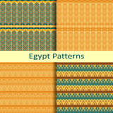 Set of four egypt traditional coloured patterns Royalty Free Stock Images