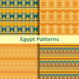 Set of four egypt traditional coloured patterns Stock Photography