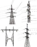 Set of four electrical pylons isolated on white Stock Photography