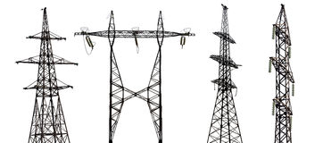 Set of four electrical pylons on white background Royalty Free Stock Image