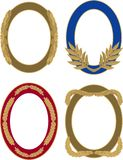 Set of four golden oval laurel borders vector illustration