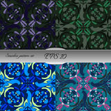 Set of four elegant seamless patterns. Nice hand drawn vector illustration Stock Photos