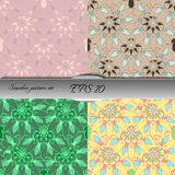 Set of four elegant seamless patterns. Nice hand drawn vector illustration Stock Photo