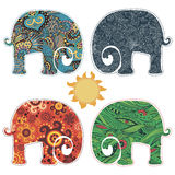 Set of four elephants applications Stock Images