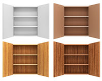 Set of four empty cupboards. Stock Images