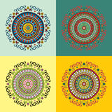 Set of four ethnic motifs. In different colors Stock Illustration
